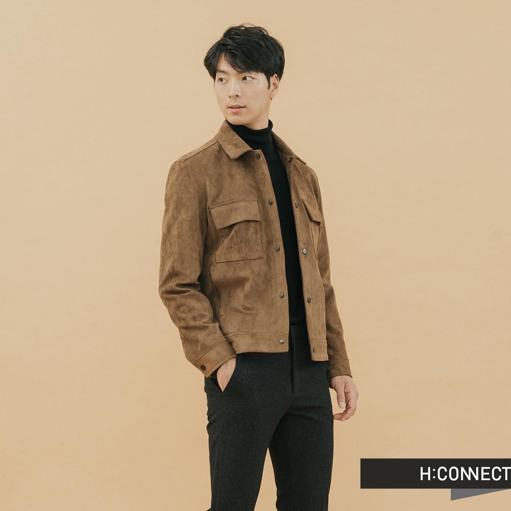 H:CONNECT 韓國品牌 男裝-雙口袋麂皮夾克外套-卡其