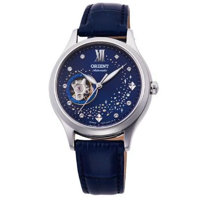 ORIENT 日本 東方錶 藍月奇蹟鏤空機械錶(RA-AG0018L)-藍/36mm