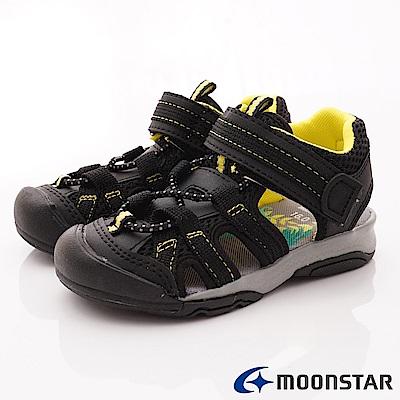 日本月星頂級童鞋 運動護趾涼鞋 FI126黑(中小童段)