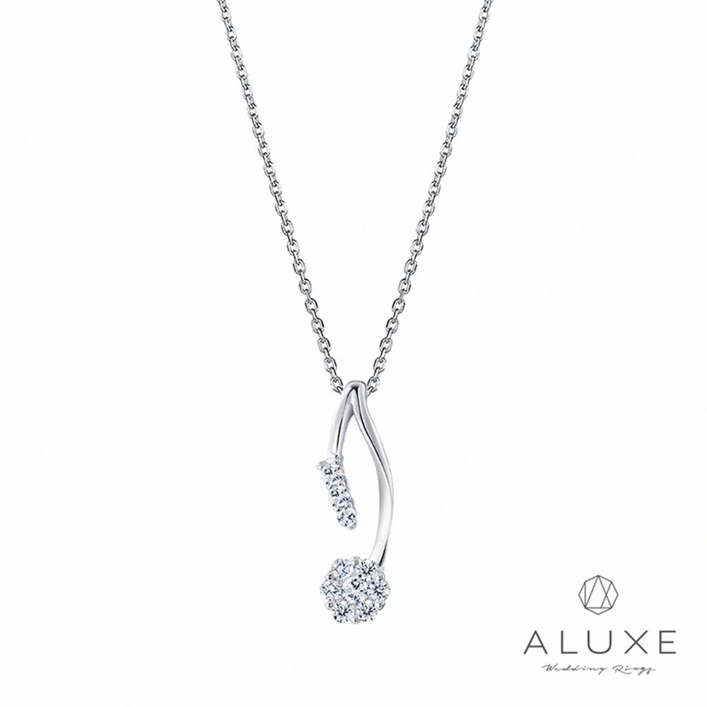 ALUXE亞立詩 18K金0.21克拉時尚花都鑽石項鍊