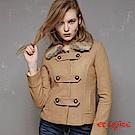 ETBOITE 箱子 BLUE WAY 時尚學院風雙排釦保暖毛呢外套-駝