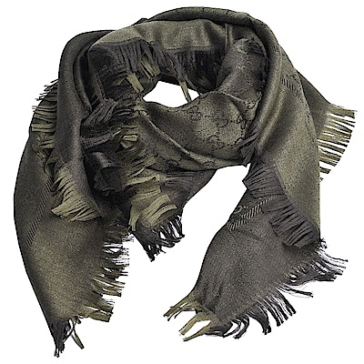 GUCCI SL GG LOGO 高質感絲毛混造型正方形圍巾(軍綠)