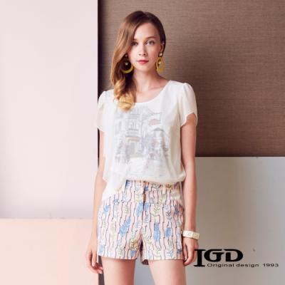 IGD英格麗 插畫印花雪紡上衣-白色