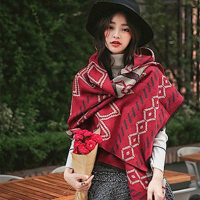 梨花HaNA 獨特美感民族波西米亞風格圍巾紅色