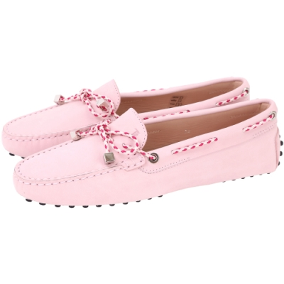TOD'S Gommino Driving 撞色編織綁帶豆豆休閒鞋(粉色)