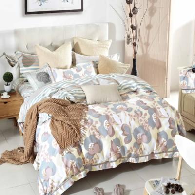 La Lune 簡奢200織台灣製精梳棉單人床包新式兩用被四件組-在水一方