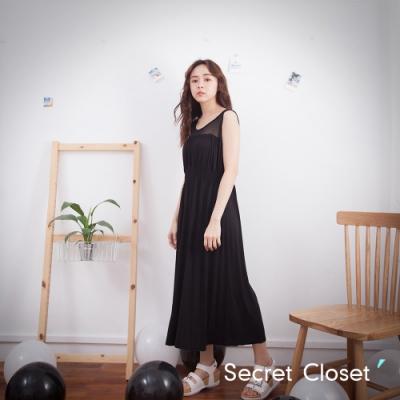 Secret Closet-縷空透視抓皺棉麻洋裝-黑色