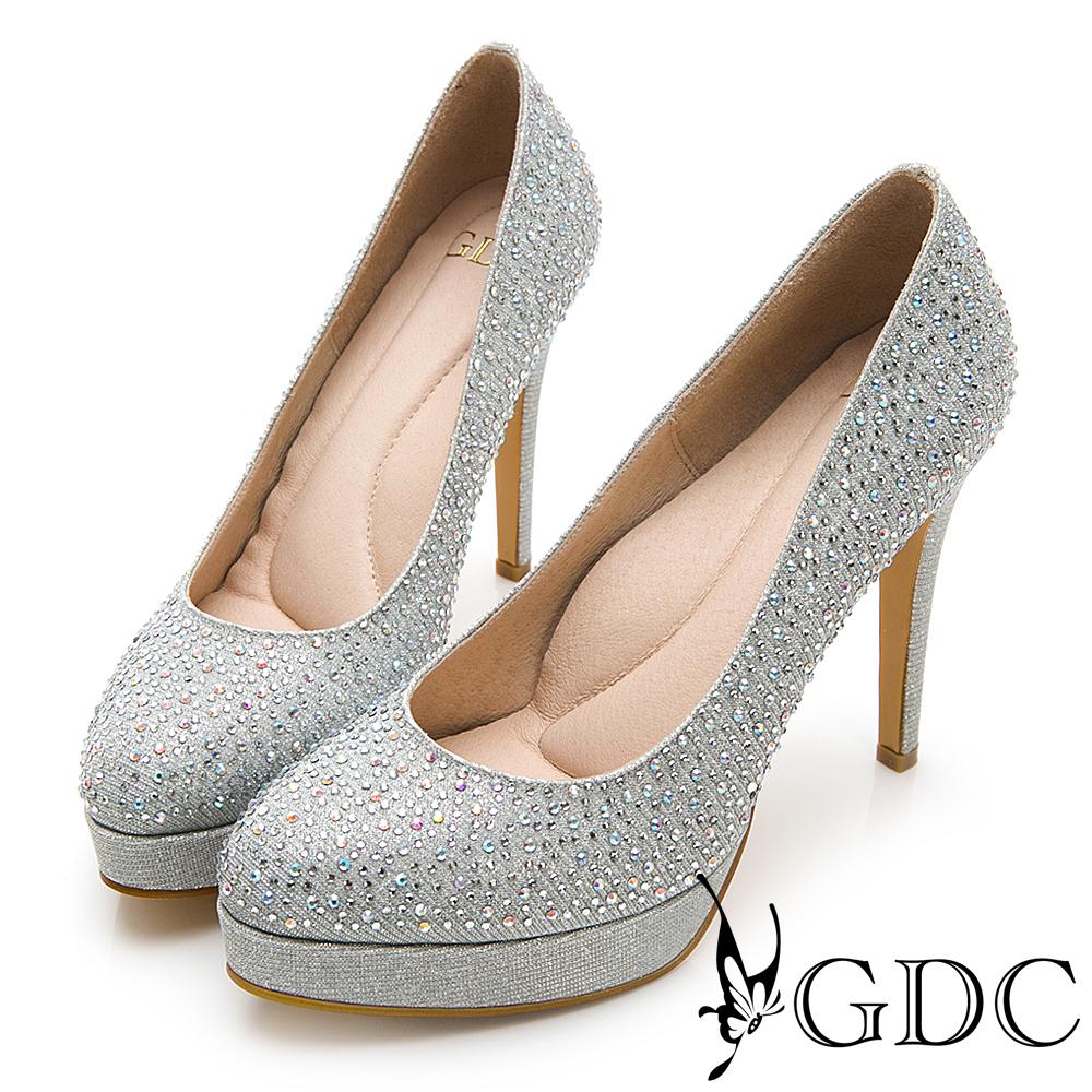 GDC-燦目水鑽閃亮女王水台高跟鞋(婚鞋)-銀色