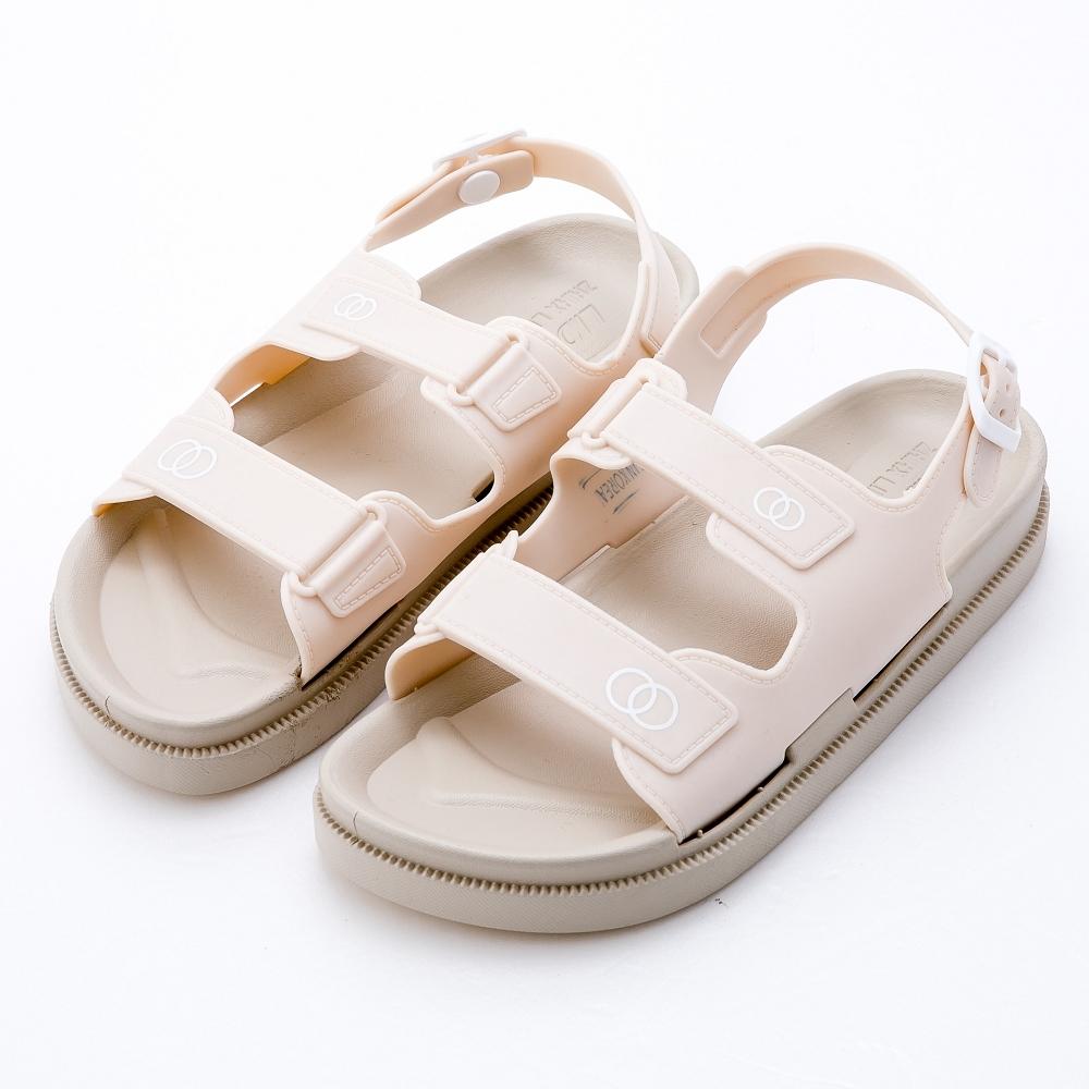 River&Moon涼鞋 小香風Q軟厚底防水涼鞋 米杏