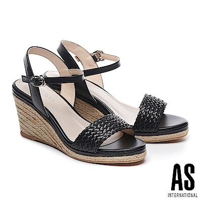涼鞋 AS 編織造型草編楔型一字高跟涼鞋-黑