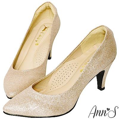Ann'S睡美人-訂製晶鑽3D氣墊尖頭高跟鞋-金