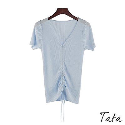V領抽繩針織上衣 共三色 TATA