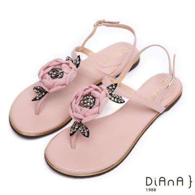 DIANA水鑽山茶花夾腳涼鞋-豔麗夏日-粉