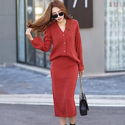 正韓 V領坑條針織外套+針織長裙套裝 (共三色)-N.C21