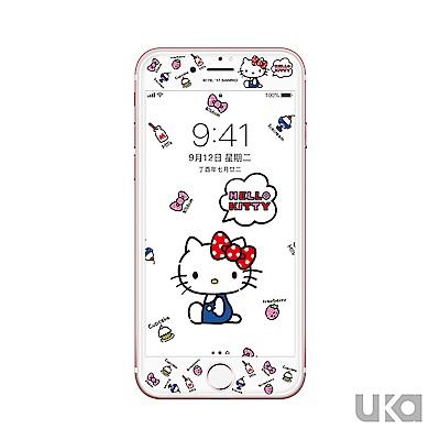 優加 iPhone 7/8 Hello Kitty鋼化玻璃彩繪保護貼-童貞凱蒂
