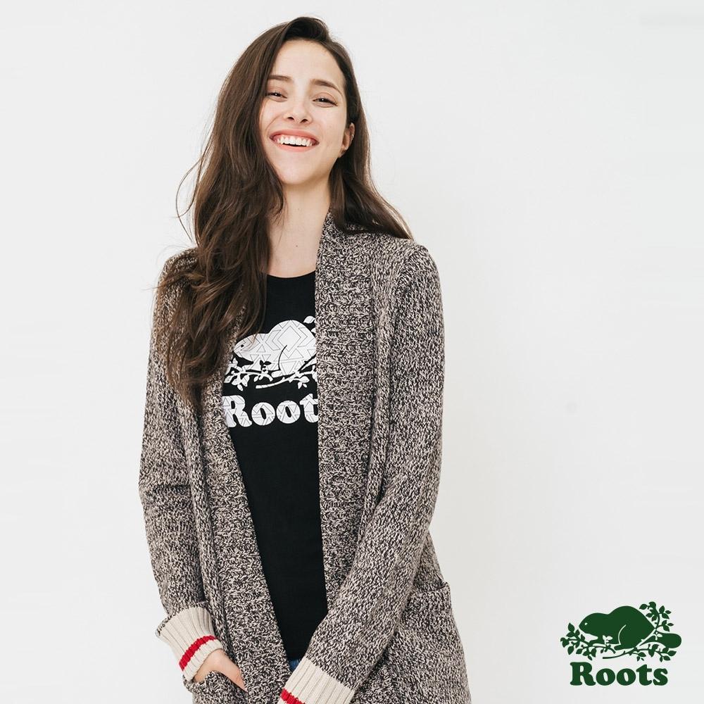 女裝ROOTS - 溫馨佳節長板開襟外套-灰
