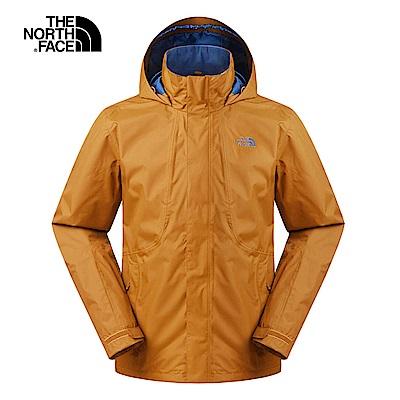 The North Face北面男款棕色防風防水衝鋒衣 3SPIUBT
