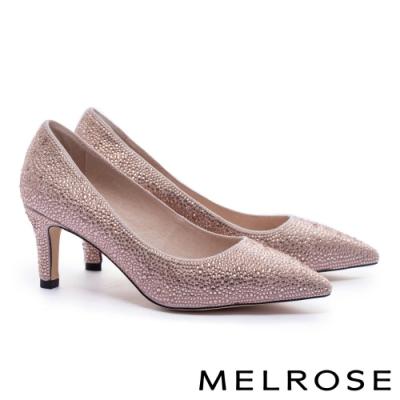 高跟鞋 MELROSE 時髦迷人閃耀水鑽羊麂布尖頭高跟鞋-粉