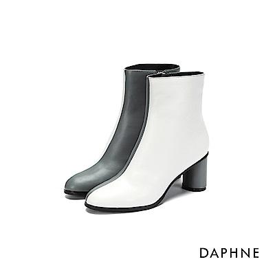 達芙妮DAPHNE 短靴-拼色霧面拉鍊高跟短靴-藍灰