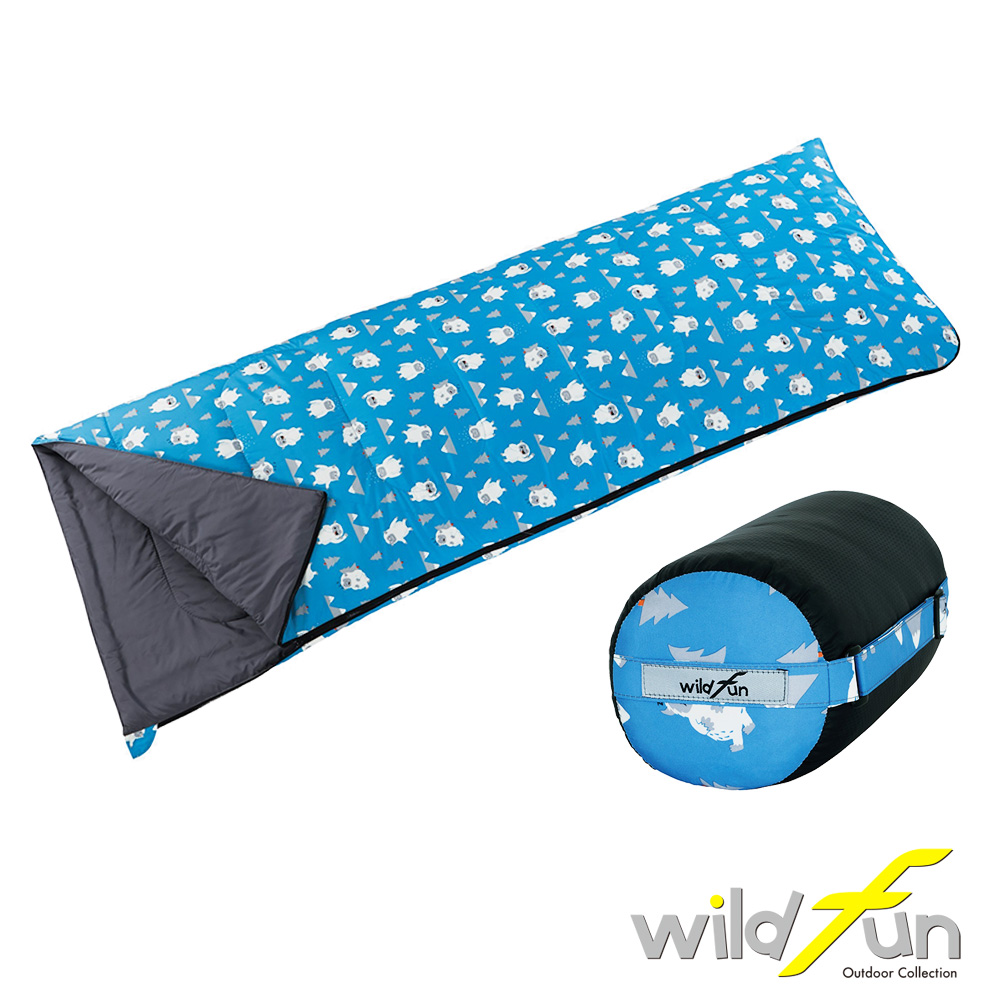 WildFun 野放兒童輕巧舒適睡袋 灰藍雪怪