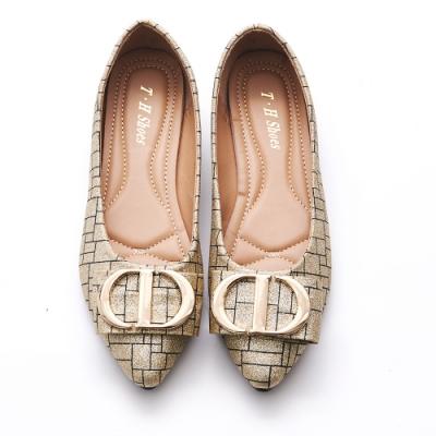 A one  金蔥格紋飾釦蝴蝶結尖頭平底鞋-金色
