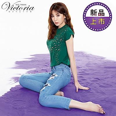 Victoria 躲貓貓天絲棉寬鬆版男友褲-女-淺藍