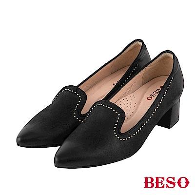 BESO 個性品味 鉚釘尖頭樂福粗跟鞋~黑