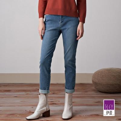 ILEY伊蕾 奢華燙鑽微彈反摺直筒褲(藍)