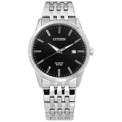 CITIZEN 礦石強化玻璃 日期 日本機芯 不鏽鋼手錶-黑色/39mm