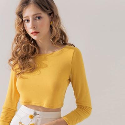 AIR SPACE 素色長袖短版針織上衣(黃)