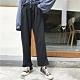 La Belleza素面高腰鬆緊腰抽繩紮實厚棉褲管不收邊休閒闊腿褲