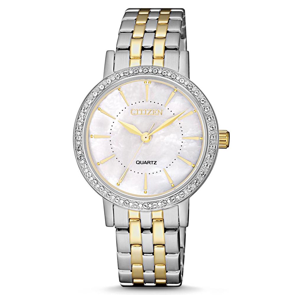 CITIZEN 嫻熟知性施華洛世奇石英女錶(EL3044-89D)-貝面x31mm