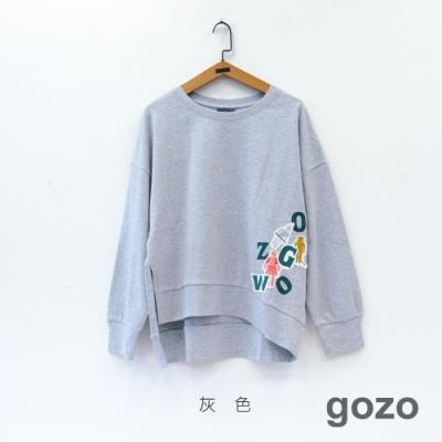 gozo 趣味人物繡標休閒上衣(二色)