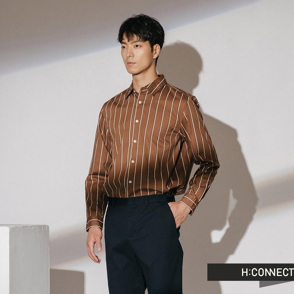 H:CONNECT 韓國品牌 男裝-棉質直條紋襯衫-棕