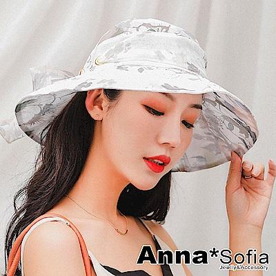 AnnaSofia 清透花嵐綁帶 防曬遮陽寬簷漁夫淑女帽(卡其系)
