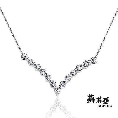 蘇菲亞 SOPHIA - 深V美鑽0.10克拉鑽石套鍊/項鍊