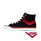 【PONY】Shooter系列 格紋配色高筒帆布鞋 休閒鞋 女鞋 黑紅