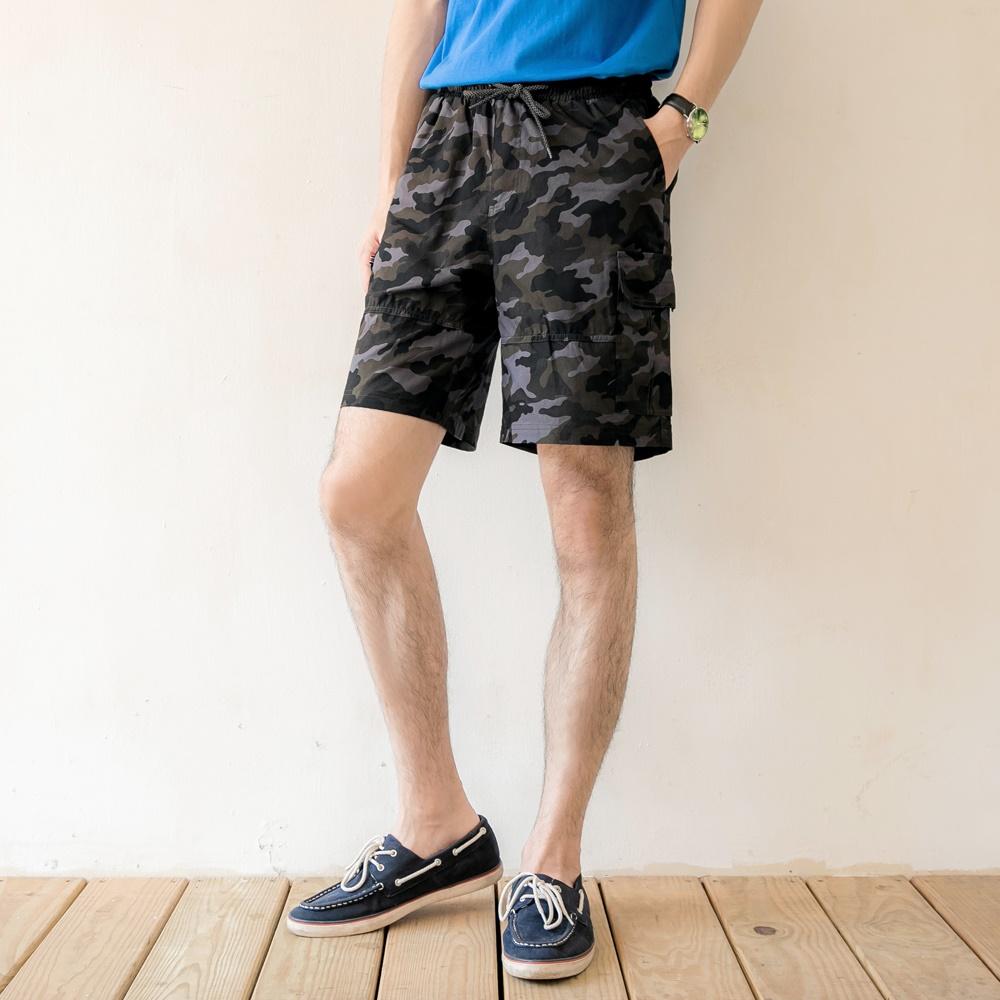 高含棉迷彩腰鬆緊綁帶休閒短褲-OB大尺碼