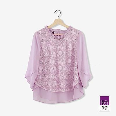 ILEY伊蕾 閃亮光澤蕾絲雪紡上衣(紫)