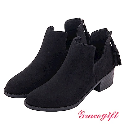 Grace gift-絨面U口後流蘇拉鍊短靴 黑
