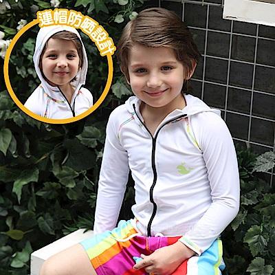 美國 PANDOO 美寶 新款長袖兒童拉鍊式彈性防曬衣_白天使