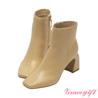 Grace gift X唐葳-聯名素面方頭高跟短靴 杏