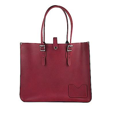 The Leather Satchel 英國手工牛皮寬版托特包 手提 肩背包 葡萄紅