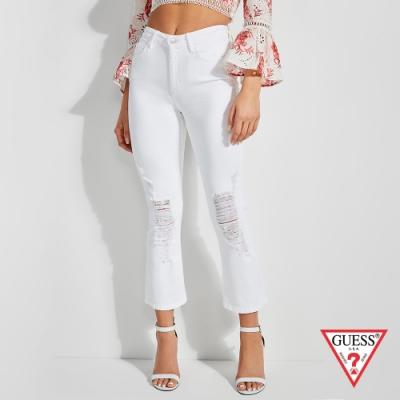 GUESS-女裝-純色刷破造型九分褲-白