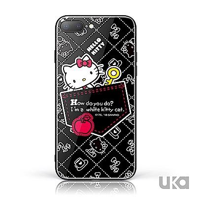 三麗鷗 HelloKitty iPhone 7 /8  9H鋼化玻璃彩繪背蓋 - 口袋凱蒂