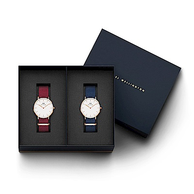 DW手錶 官方旗艦店 36mm玫瑰紅尼龍錶+40mm星空藍尼龍錶(編號12)