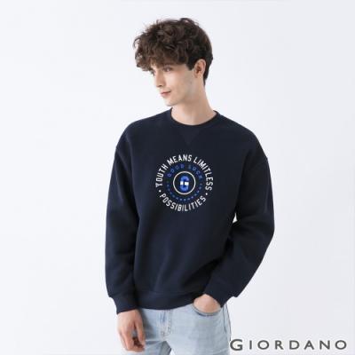 GIORDANO 男裝YOUTH大學T恤 - 41 標誌藍