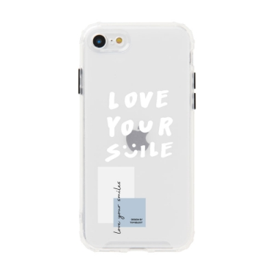 【TOYSELECT】iPhone SE2/7/8 Smilie 手繪笑臉文字霧面防摔iPhone手機殼 - 珍珠白