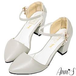Ann'S水鑽顯瘦側V繫踝尖頭粗跟鞋