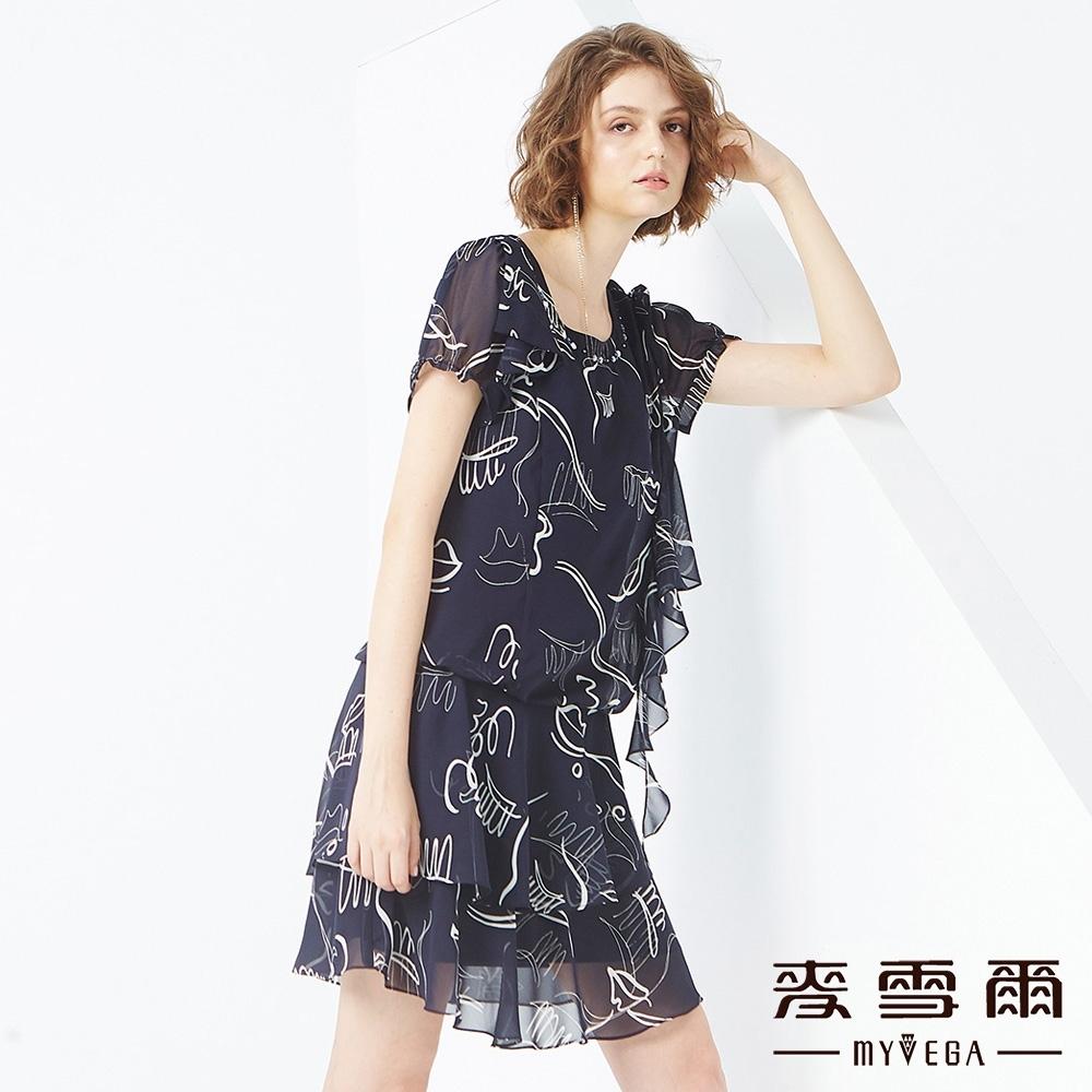 MYVEGA麥雪爾 抽象印花雪紡短洋裝-深藍
